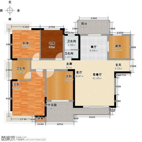 学府港湾3室1厅2卫1厨143.00㎡户型图