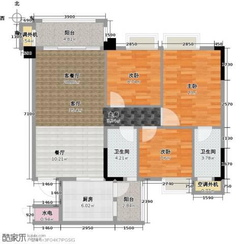 肇庆碧桂园3室1厅2卫1厨97.00㎡户型图