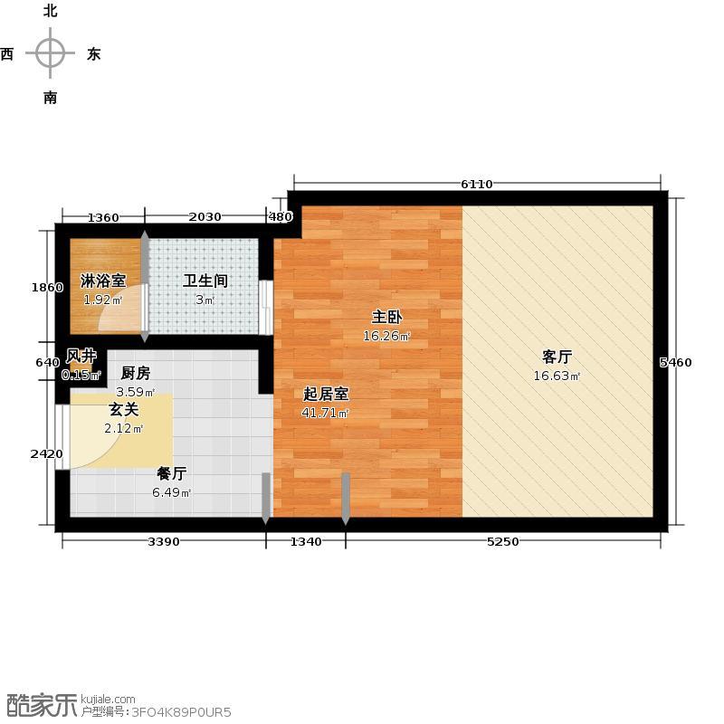 艾瑟顿国际公寓45.55㎡F户型