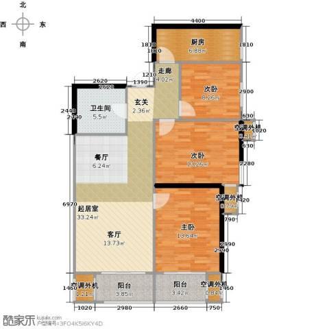 华远君城3室0厅1卫1厨110.00㎡户型图