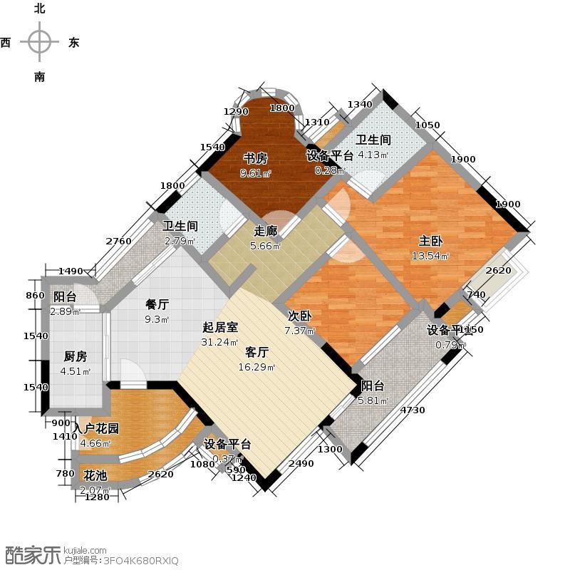 中惠香樟绿洲户型3室2卫1厨