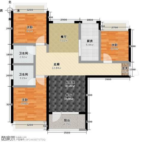平谷蓝熙庭3室0厅2卫1厨104.00㎡户型图