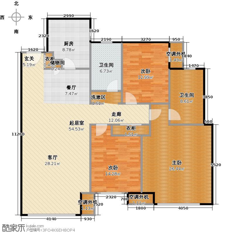 橡树湾148.00㎡V户型3室2厅2卫1厨户型3室2厅2卫
