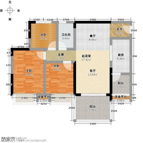 锦绣天伦花园3室0厅1卫1厨86.00㎡户型图