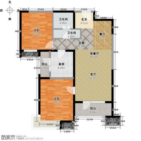 天津湾海景文苑2室1厅2卫1厨115.00㎡户型图