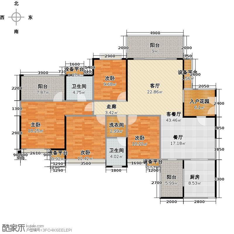 淘金山二期B户型4室1厅2卫1厨