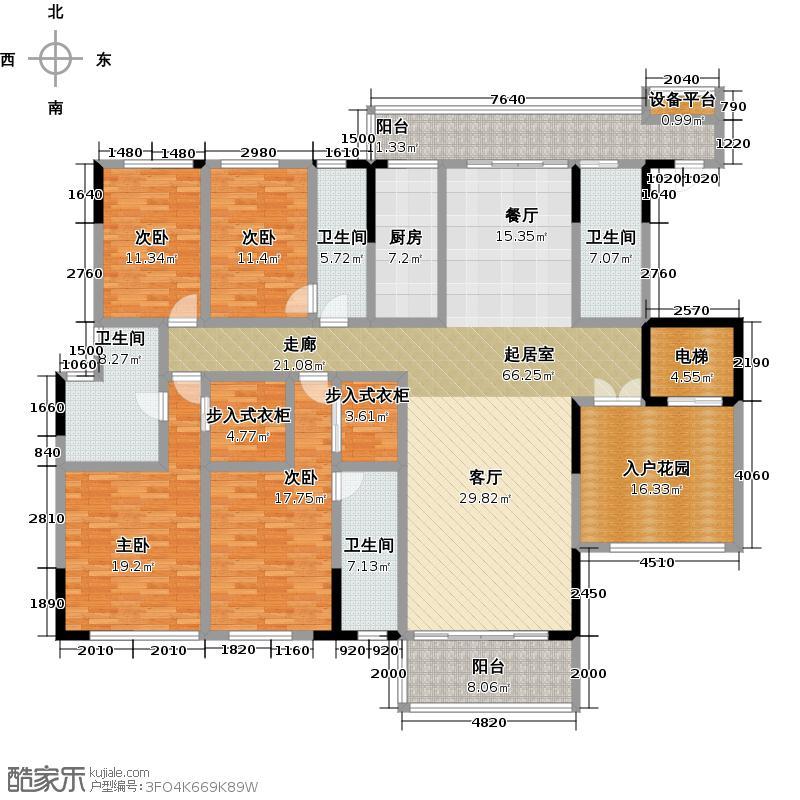 尚轩1034栋10-13层02单元户型4室4卫1厨