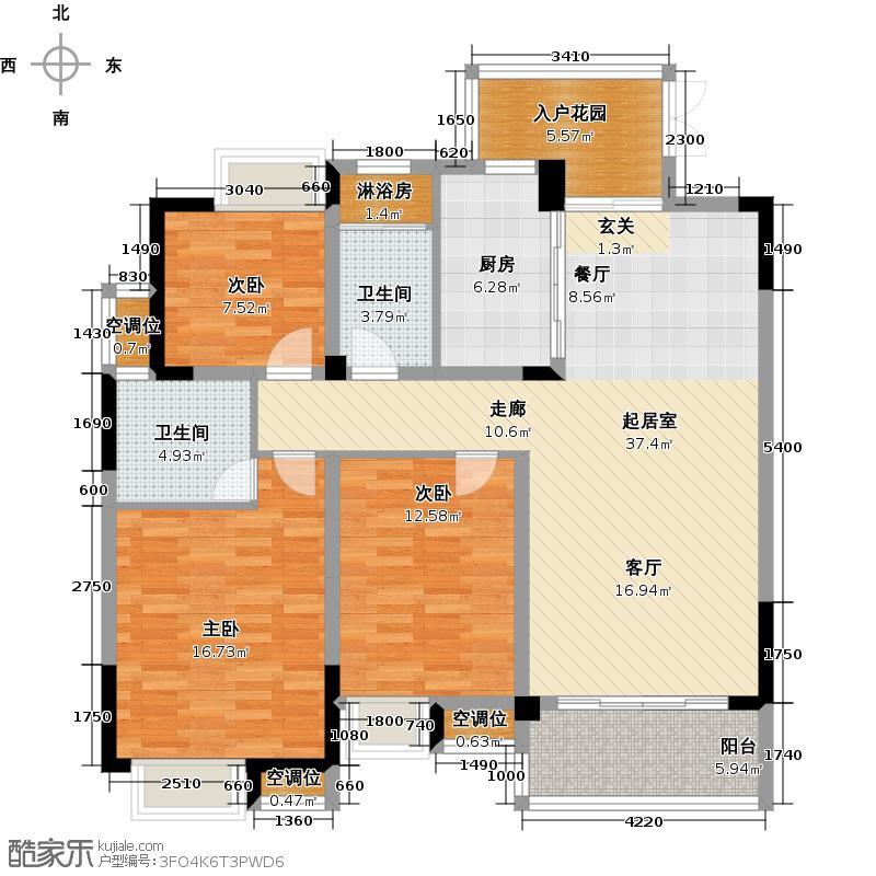 元一蔚蓝观邸户型3室2卫1厨