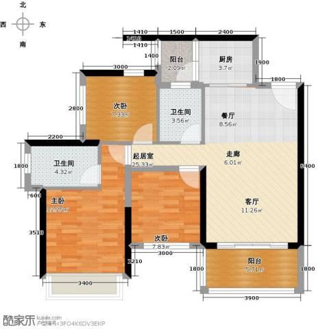 大东城3室0厅2卫1厨89.00㎡户型图