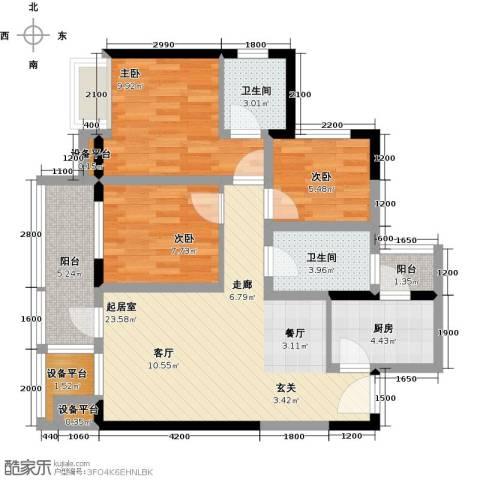 中粮一品澜山花园3室0厅2卫1厨84.00㎡户型图