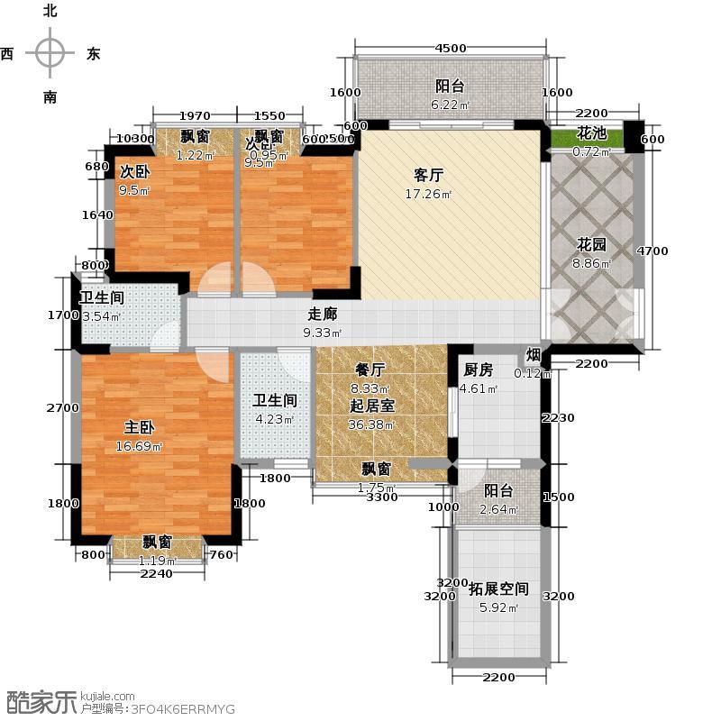 德洲丹缇轩2-3栋雅景阁标准层C4户型3室2卫1厨