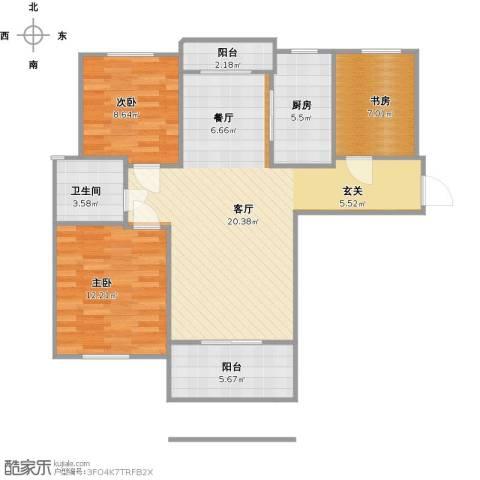 远洋香奈3室1厅1卫1厨105.00㎡户型图