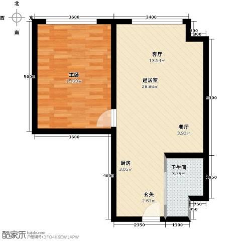 太伟方恒广场1室0厅1卫0厨69.00㎡户型图