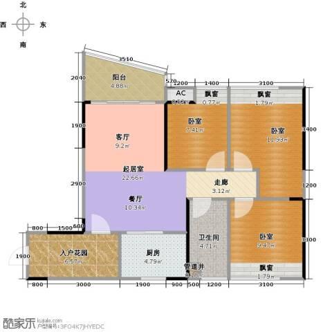 碧桂园・天玺湾1卫1厨77.00㎡户型图