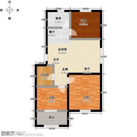 城子天鸢园3室0厅1卫1厨95.00㎡户型图