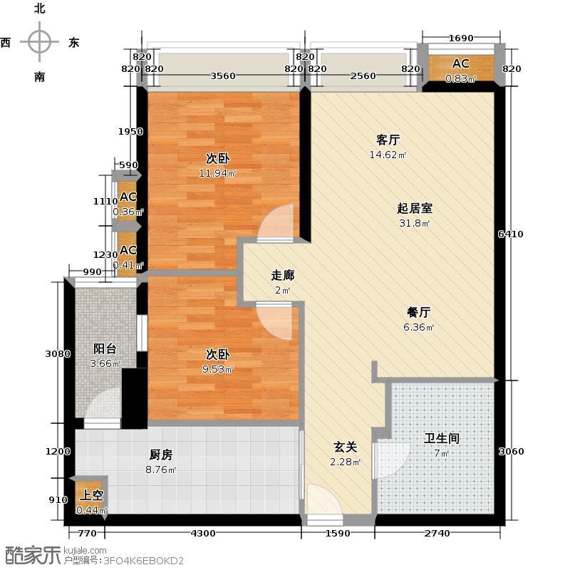 纵横国际公寓天伦之乐CQQ户型2室1卫1厨