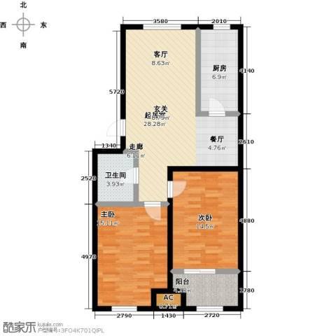 城子天鸢园2室0厅1卫1厨85.00㎡户型图