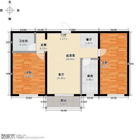 碧水蓝山2室0厅1卫1厨84.00㎡户型图