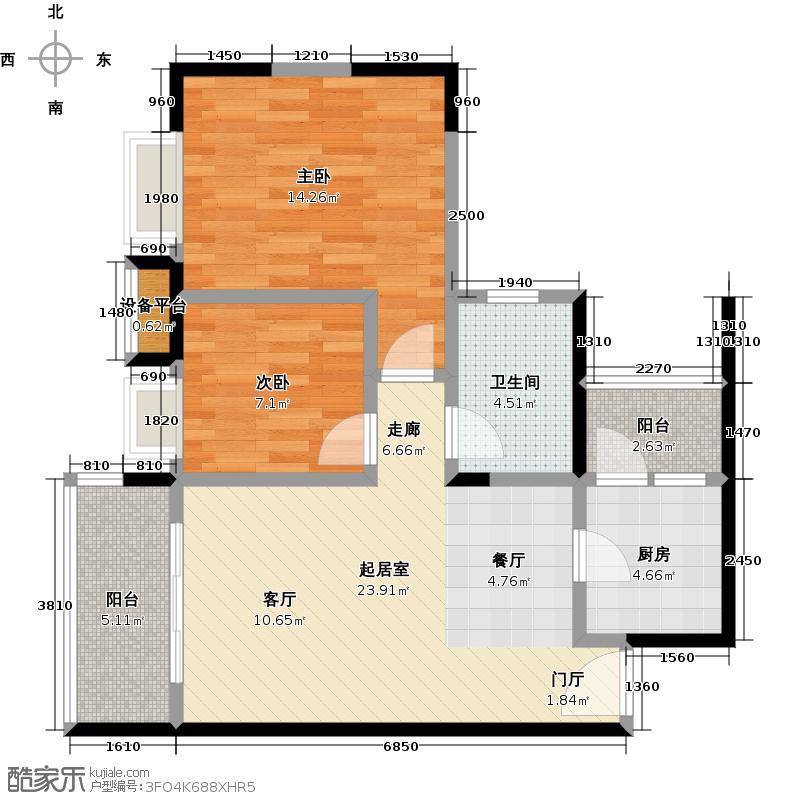 学府南苑二十号楼04单位户型2室1卫1厨