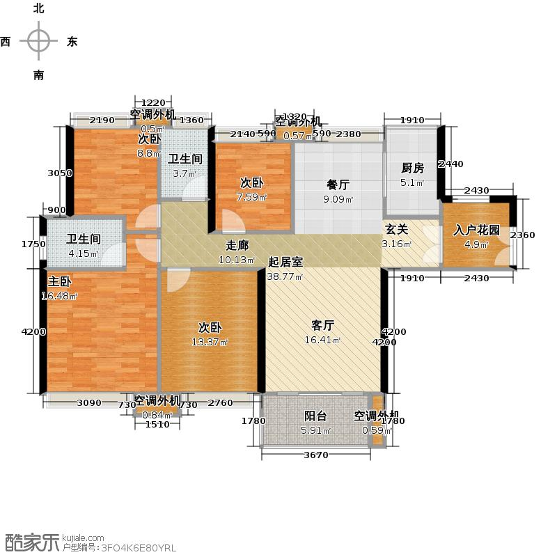 时代南湾三期8、9栋户型4室2卫1厨