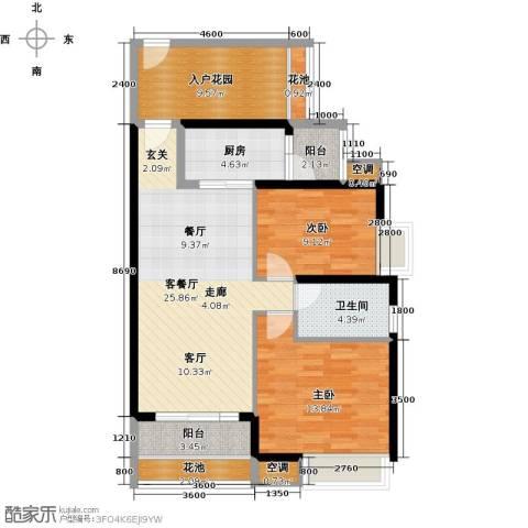 中熙弥珍道2室1厅1卫1厨85.00㎡户型图