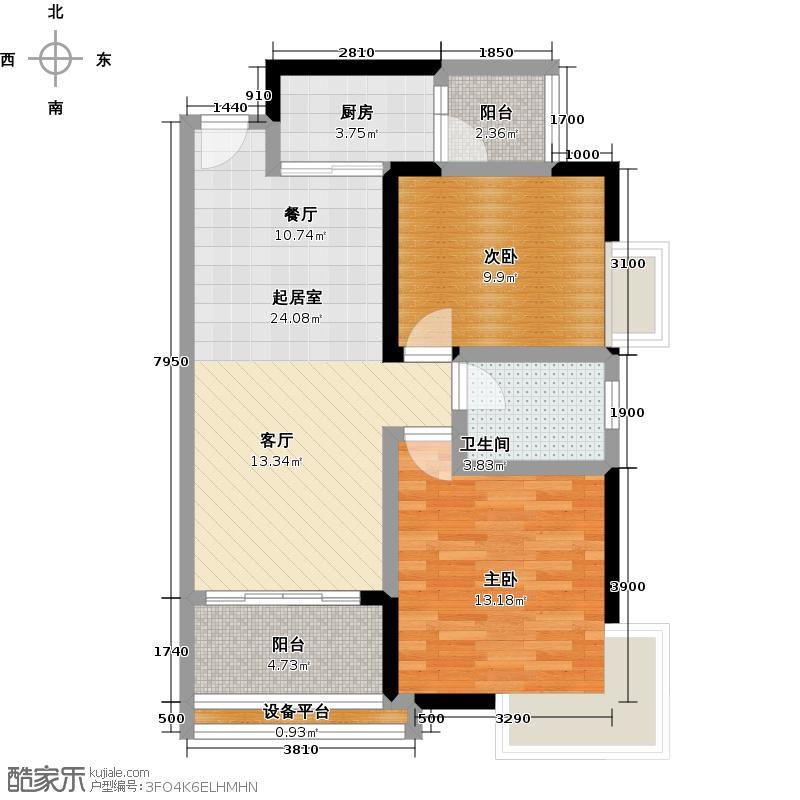 尚上名筑A6栋01单位户型2室1卫1厨