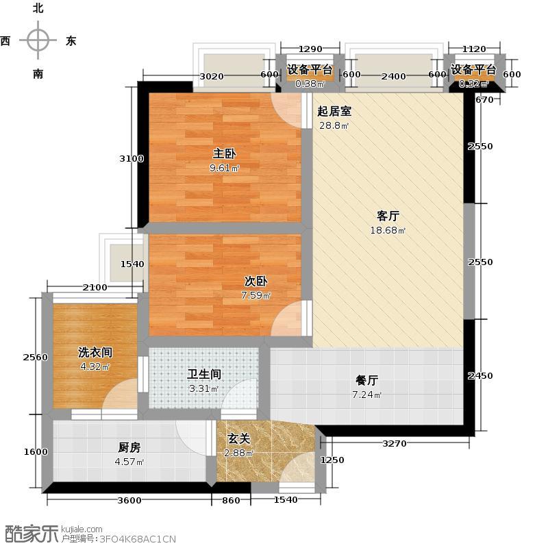 海印东山100G07户型2室1卫1厨