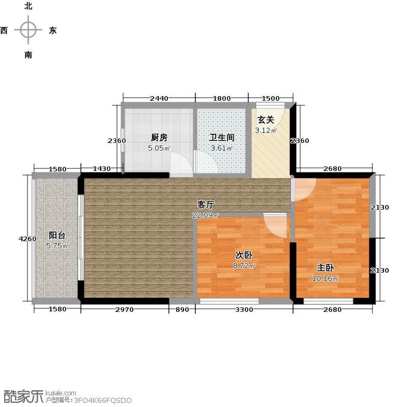 狮峰公馆1、2栋标准层03户型2室1厅1卫1厨