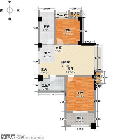 典雅花园2室0厅1卫1厨84.00㎡户型图