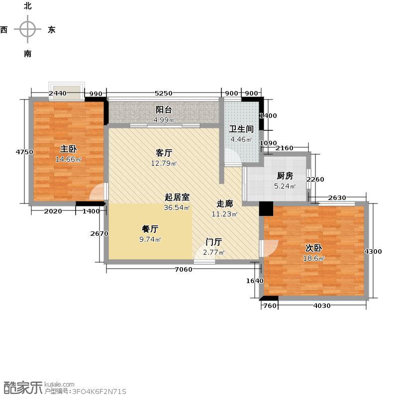 西华苑二期F栋五层04单元户型2室1卫1厨