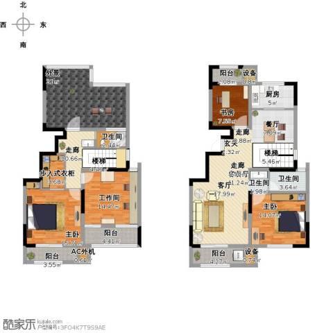 荣御华府3室1厅2卫1厨225.00㎡户型图