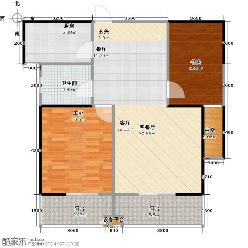 阳光福地97.02㎡5#甲单元B户型2室2厅1卫