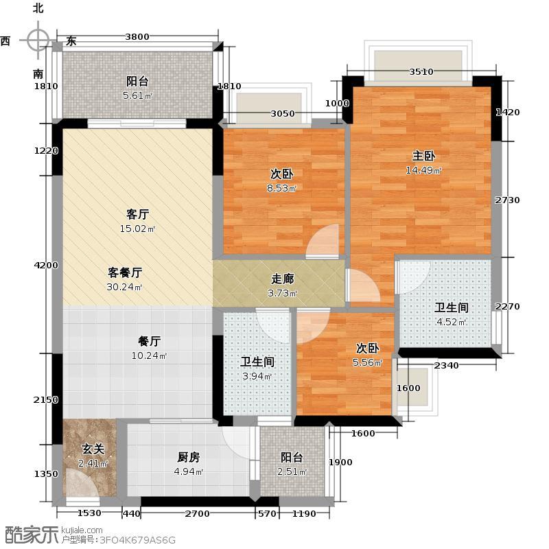 恒大银湖城2栋3-11层02户型3室1厅2卫1厨