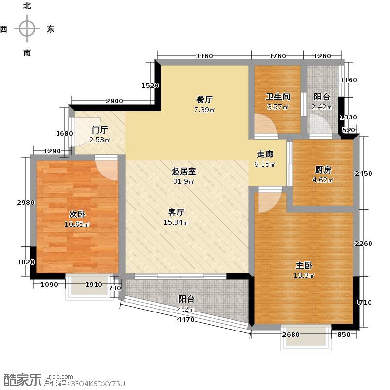 西华苑二期F栋二至四层01单元户型2室1卫1厨