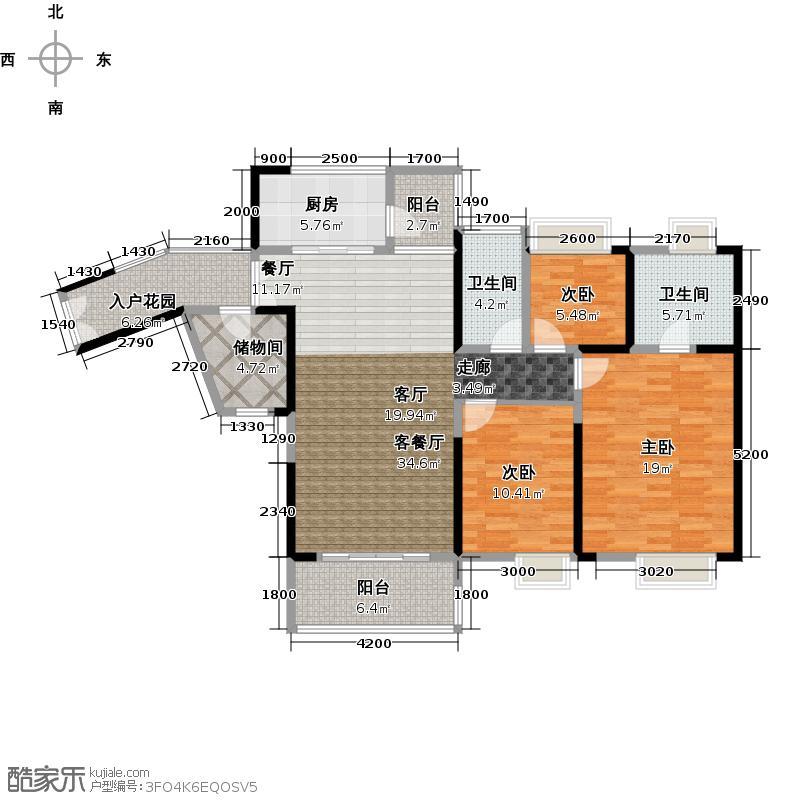 中惠璧珑湾5栋标准层03户型3室1厅2卫1厨