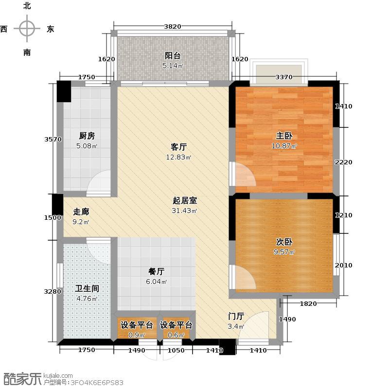 西华苑二期E2栋二至九层04单元户型2室1卫1厨
