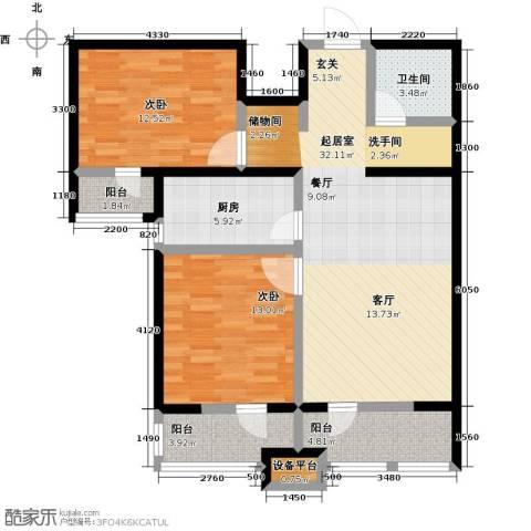 龙鼎天悦2室0厅1卫1厨92.00㎡户型图