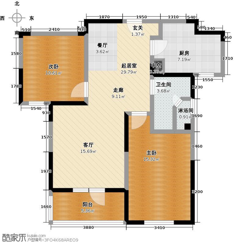 朗诗绿色街区83.00㎡A户型 2室2厅1卫户型2室2厅1卫
