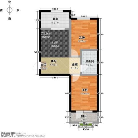 金石明珠2室0厅1卫1厨65.00㎡户型图