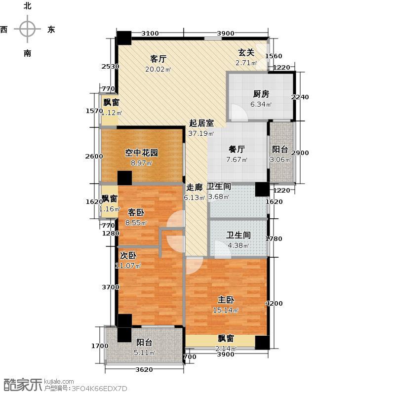 广弘天琪B栋03户型3室2卫1厨
