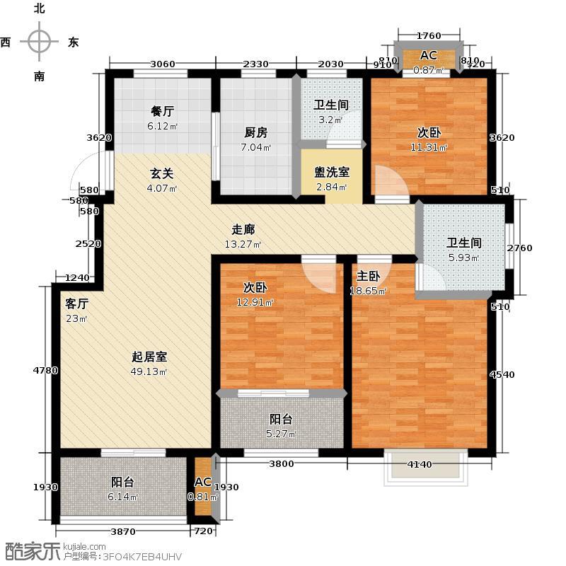 煌庭棕榈湾112.00㎡C2户型3室2厅2卫