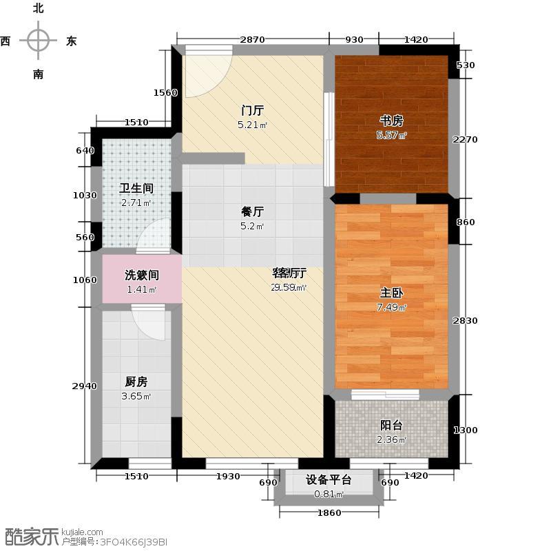 阳光100国际新城T6号楼89.04平米两室两厅一卫B户型