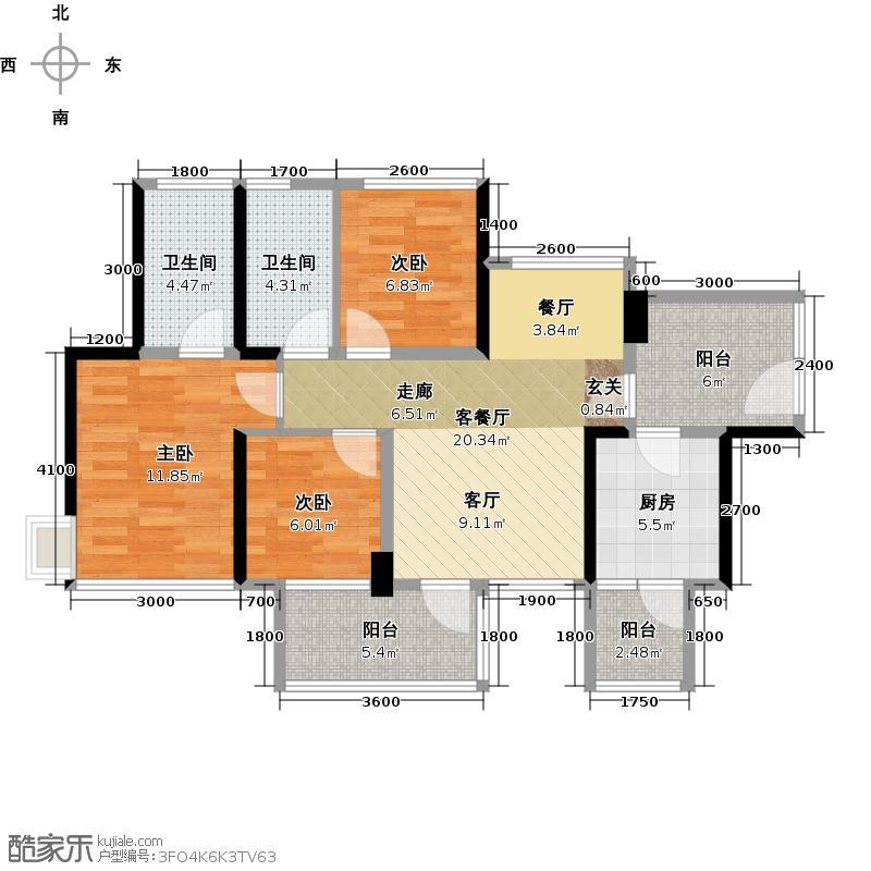 潜龙曼海宁(南区)8栋8-B奇数层3阳台8671-户型3室1厅2卫1厨