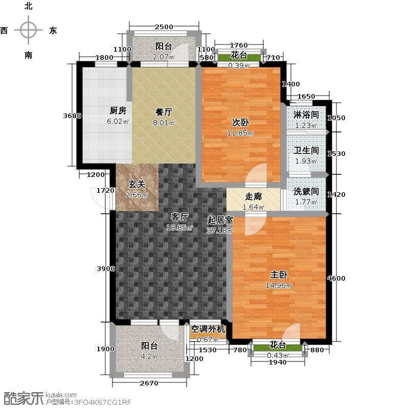 金石明珠89.00㎡两室两厅一卫户型