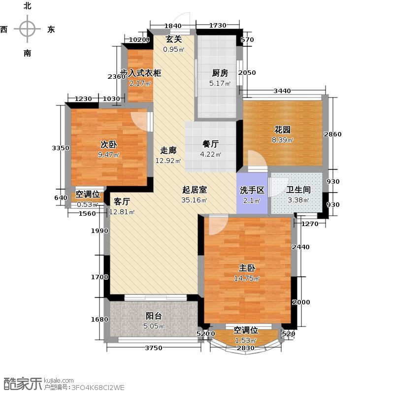 银河湾第1城96.00㎡D2户型 三室两厅一卫户型3室2厅1卫