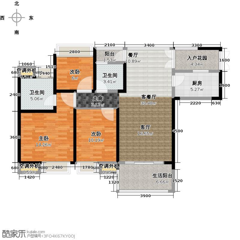 中惠璧珑湾15栋3号户型3室1厅2卫1厨