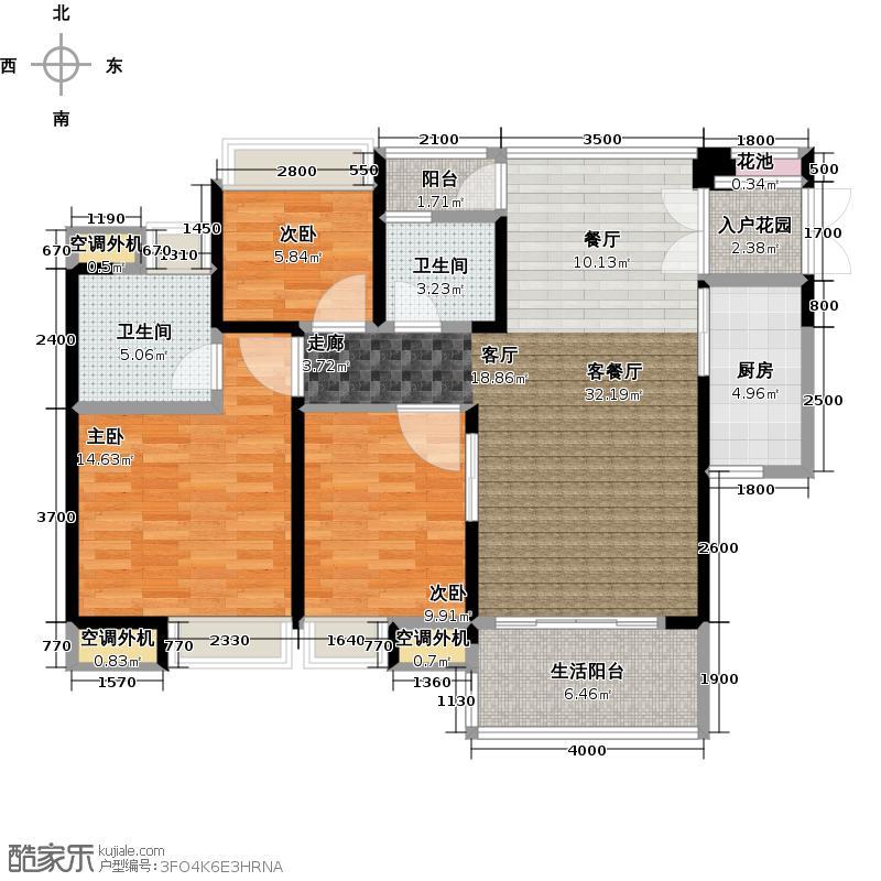中惠璧珑湾13栋3号户型3室1厅2卫1厨