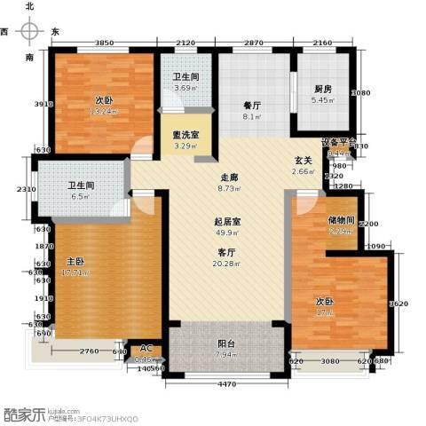 学府华园3室0厅2卫1厨124.00㎡户型图