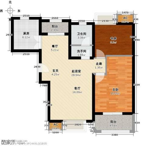 福德庄园2室0厅1卫1厨106.00㎡户型图