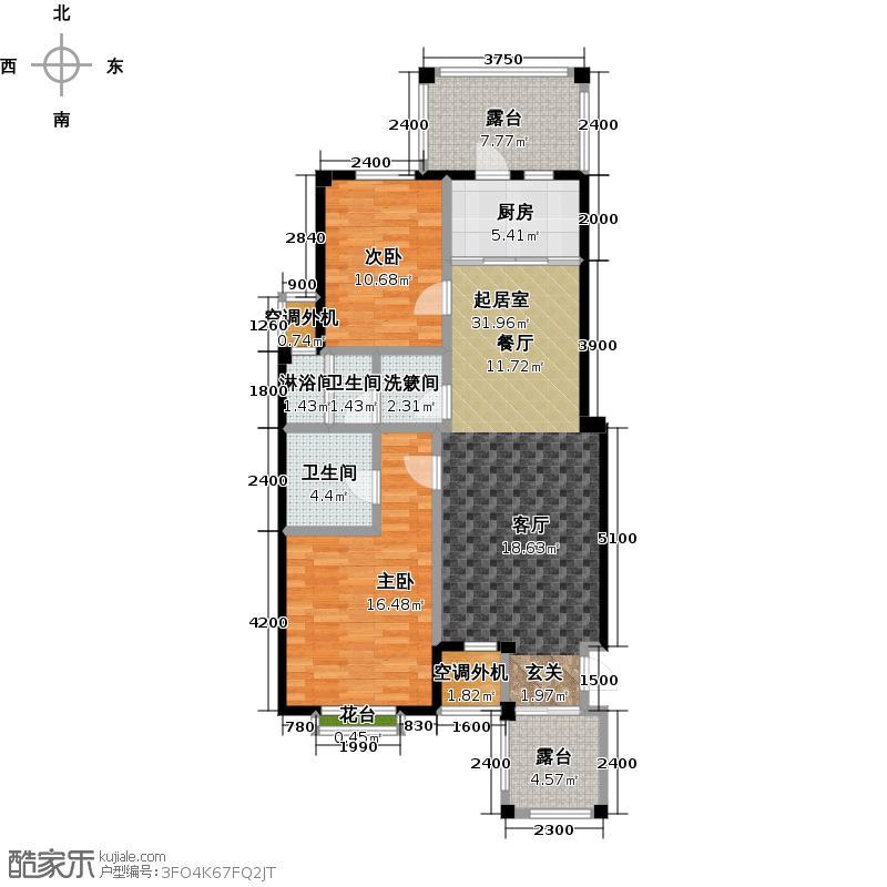 金石明珠Q2户型 2室2厅2卫 98㎡户型
